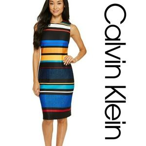 Calvin Klein Dresses - NWT Calvin Klein Stripe Sheath Scuba Dress
